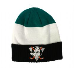 ANAHEIM DUCKS -  BEANIE WITH POMPOM - BLACK/WHITE/TURQUOISE