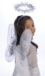 ANGEL -  CHILD WINGS AND HALO SET - WHITE/SILVER