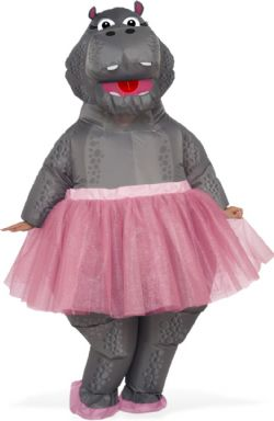 ANIMALS -  INFLATABLE HIPPO WITH TUTU (ONE SIZE)