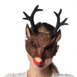 ANIMALS -  REINDEER 1/2 FACE MASK WITH RED NOSE - SUPERSOFT