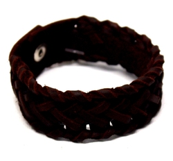 ARMBAND -  BRAIDED LEATHER BRACER - BROWN