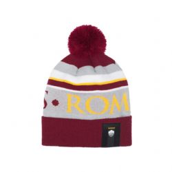 AS ROMA -  LOGO POMPOM BEANIE- RED/GREY