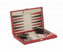 BACKGAMMON -  BACKGAMMON - LEATHER RED AND BLACK
