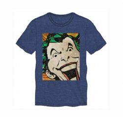 BATMAN -  JOKER VINTAGE COMICS FACE T-SHIRT - BLUE