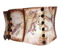 BELTS -  SHORT CORSET BELT MANUSCRIPT - FANTASTIC BESTIARY (MEDIUM)