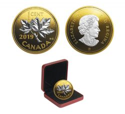 BIG COINS WITH REVERSE GOLD PLATING -  1-CENT -  2019 CANADIAN COINS 07