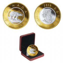 BIG COINS WITH REVERSE GOLD PLATING -  2-DOLLAR -  2019 CANADIAN COINS 06