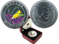 BIRDS OF CANADA -  GOLDFINCH -  2010 CANADIAN COINS 05