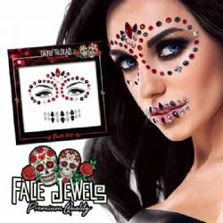 BODY JEWELS -  SKY ADHESIVE FACE JEWELS STICKER - DAY OF THE DEAD