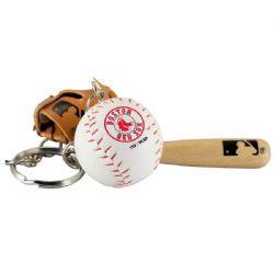 BOSTON RED SOCKS -  BAT, BALL AND GLOVE - KEYCHAIN