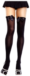 BOW -  BLACK WITH BLACK BOW - PLUS SIZE -  THIGH HIGH