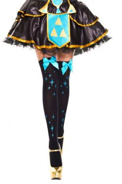 BOW -  BLACK WITH BLUE BOW AND STARS - ONE SIZE -  THIGH HIGH