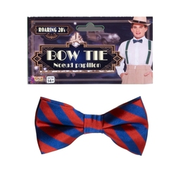 BOW TIE -  STRIPPED BOW TIE - BLUE/RED (WITH ELASTIC)