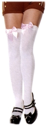 BOW -  WHITE WITH LIGHT PINK BOW - ONE-SIZE -  THIGH HIGH
