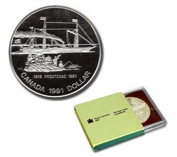 BRILLIANT DOLLARS -  175TH ANNIVERSARY OF THE FRONTENAC -  1991 CANADIAN COINS