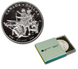 BRILLIANT DOLLARS -  300TH ANNIVERSARY OF HENRY KELSEY'S VENTURES INTO THE CANADIAN WEST -  1990 CANADIAN COINS