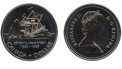 BRILLIANT DOLLARS -  400TH ANNIVERSARY OF JOHN DAVIS' HISTORIC EXPEDITION -  1987 CANADIAN COINS