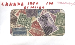 CANADA -  100 ASSORTED STAMPS - CANADA: FROM 1955 AND BEFORE