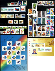 CANADA -  1992 COMPLETE YEAR SET, 75 NEW STAMPS