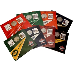 CANADIAN FOOTBALL LEAGUE -  8-SET OF STAMPS AND COINS SET -  2012 CANADIAN COINS