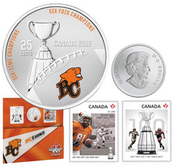 CANADIAN FOOTBALL LEAGUE -  BC LIONS - STAMPS AND COIN SET -  2012 CANADIAN COINS 05