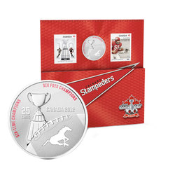 CANADIAN FOOTBALL LEAGUE -  CALGARY STAMPEDERS - STAMPS AND COIN SET -  2012 CANADIAN COINS 07