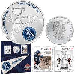 CANADIAN FOOTBALL LEAGUE -  TORONTO ARGONAUTS - STAMPS AND COIN SET -  2012 CANADIAN COINS 02