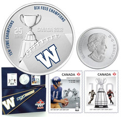 CANADIAN FOOTBALL LEAGUE -  WINNIPEG BLUE BOMBERS - STAMPS AND COIN SET -  2012 CANADIAN COINS 03