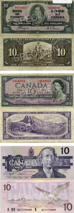 CANADIAN PAPER MONEY PACK -  1937, 1954 MODIFIED PORTRAIT AND 1989 10-DOLLAR NOTES