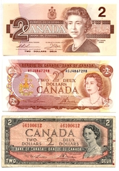 CANADIAN PAPER MONEY PACK -  1954 MODIFIED PORTRAIT, 1974 AND 1986 2-DOLLAR NOTES