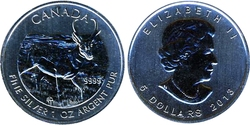 CANADIAN WILDLIFE -  ANTELOPE - 1 OUNCE FINE SILVER COIN -  2013 CANADIAN COINS 05