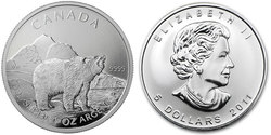 CANADIAN WILDLIFE -  GRIZZLY - 1 OUNCE FINE SILVER COIN -  2011 CANADIAN COINS 02