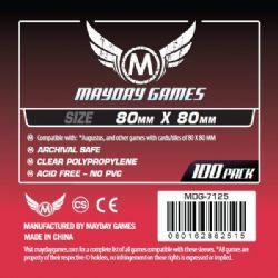 CARD SLEEVES -  GAME SLEEVES (100) (80 MM X 80 MM) -  MAYDAY GAMES