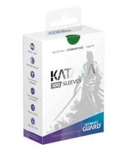 CARD SLEEVES -  KATANA STANDARD SIZE SLEEVE (100) (66 MM X 91 MM) - GREEN -  ULTIMATE GUARD