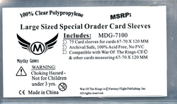 CARD SLEEVES -  LARGE SIZE GAME SLEEVES (75) (70 MM X 120 MM)