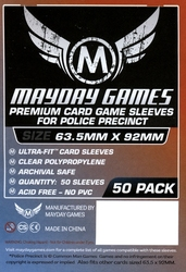 CARD SLEEVES -  POLICE PRECINT SIZE GAME SLEEVES (50) (63.5 MM X 92 MM) -  MAYDAY GAMES