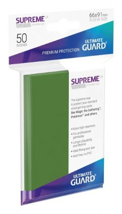 CARD SLEEVES -  SUPREME UX SLEEVES STANDARD SIZE GREEN (50) (66 X 91MM) -  ULTIMATE GUARD