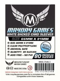 CARD SLEEVES -  WHITE CARD GAME SLEEVES (80) (66 MM X 91 MM) -  MAYDAY GAMES