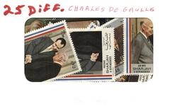CHARLES DE GAULLE -  25 ASSORTED STAMPS - CHARLES DE GAULLE