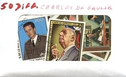 CHARLES DE GAULLE -  50 ASSORTED STAMPS - CHARLES DE GAULLE