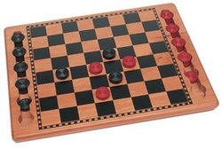 CHECKERS -  WOOD CHEKER SET, BLACK & RED (14.8