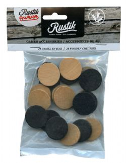 CHECKERS -  WOODEN CHECKERS (20 PIECES)