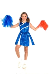 CHEERLEADER -  CHEERLEADER COSTUME - BLUE GLITTER (CHILD)