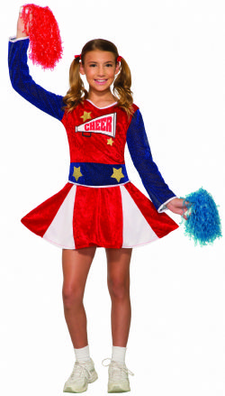 CHEERLEADER -  VARSITY CHEERLEADER COSTUME - RED AND BLUE (CHILD)