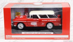 CHEVROLET -  1955 CHEVROLET NOMAD COCA COLA WITH 2 BOTTLES CASES AND METAL HANDCART -  1/24