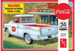 CHEVY -  CHEVY CAMEO PICKUP COCA-COLA 1955 WITH VINTAGE VENDING MACHINE AND DOLLY - 1/25 (MODERATE)