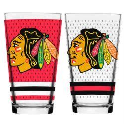 CHICAGO BLACKHAWKS -  16 OZ JERSEY GLASS