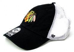 CHICAGO BLACKHAWKS -  BLACK MESHBACK STRETCH FIT CAP