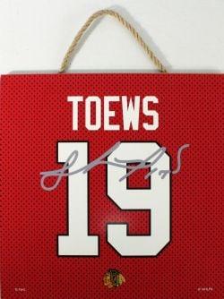 CHICAGO BLACKHAWKS -  JONATHAN TOEWS #19 AUTOGRPAHED WOODEN PLAQUE (10