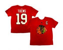 CHICAGO BLACKHAWKS -  RED JONATHAN TOEWS #19 T-SHIRT (YOUTH - MEDIUM - 5*6 YEARS)